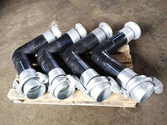 Угловая труба ПНД с БРС соединением для перекачки бентонита