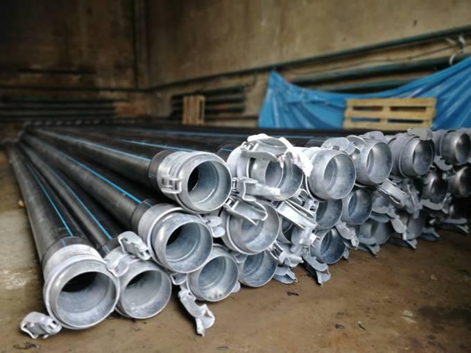 Трубы полиэтиленовые с БРС для перекачки воды диаметром 225 мм